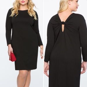 Eloquii Long Sleeve Dress with Knotted Back Detail